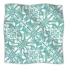 Swirling Tiles Teal Microfiber Fleece Throw Blanket