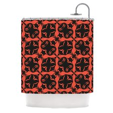 Oval Orange Love Polyester Shower Curtain