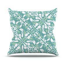 Swirling Tiles Teal Throw Pillow
