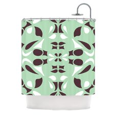 Swirling Teal Polyester Shower Curtain