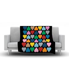 Up and Down Hearts by Project M Fleece Throw Blanket