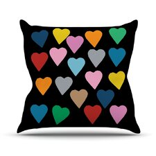 Hearts Colour On Black Throw Pillow