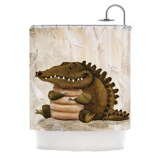 Smiley Crocodiley Polyester Shower Curtain