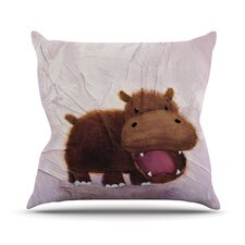 The Happy Hippo Outdoor Throw Pillow