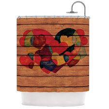 Wooden Heart Polyester Shower Curtain