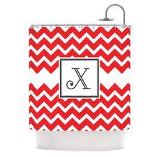 Monogram Chevron Red Polyester Shower Curtain