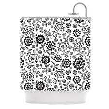 Cherry Floral White Polyester Shower Curtain
