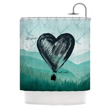 Heart Set Sail Polyester Shower Curtain