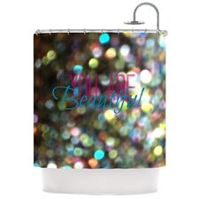 You Are Beautiful Polyester Shower Curtain