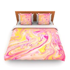 Bubble Gum Pink by Ingrid Beddoes Fleece Duvet Cover