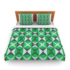 Silver and Green Contemporary by Empire Ruhl Fleece Duvet Cover