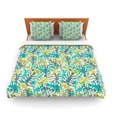Tropical Leaves by Julia Grifol Fleece Duvet Cover
