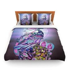 Peacock by Catherine Holcombe Fleece Duvet Cover