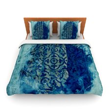Mosaic in Cyan by Frederic Levy-Hadida Fleece Duvet Cover