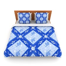 Diamonds Blue by Anneline Sophia Fleece Duvet Cover