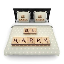 Be Happy by Cristina Mitchell Woven Duvet Cover