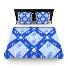 Diamonds Blue by Anneline Sophia Woven Duvet Cover