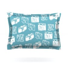 Camera Pattern Woven Pillow Sham