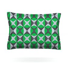 Silver and Green Abstract by Empire Ruhl Cotton Pillow Sham