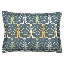 My Leaves on Blue by Julia Grifol Cotton Pillow Sham