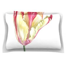 Red Tip Tulip by Lydia Martin Cotton Pillow Sham