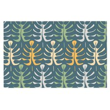 My Leaves on Blue by Julia Grifol Decorative Doormat