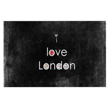 I Love London by Ingrid Beddoes Black Grundge Decorative Doormat