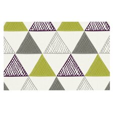 Textured Triangles Green by Laurie Baars Decorative Doormat