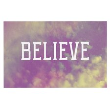 Believe by Rachel Burbee Clouds Decorative Doormat