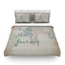 Journey by Catherine Holcombe World Map Light Cotton Duvet Cover