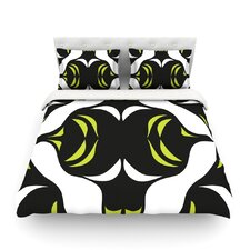 Green White Jaws Light by Miranda Mol Cotton Duvet Cover