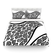 Bird in Disguise White by Pom Graphic Design Cotton Duvet Cover