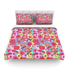 My Folk Flowers by Julia Grifol Light Cotton Duvet Cover