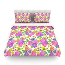 My Birds and My Flowers by Julia Grifol Light Cotton Duvet Cover