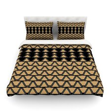 Deco Angles Gold Black by Nina May Cotton Duvet Cover