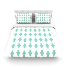 Arrows Up and Down Mint by Project M Woven Duvet Cover