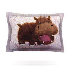 The Happy Hippo by Rachel Kokko Woven Pillow Sham