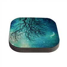 Winter Moon by Sylvia Cook Coaster (Set of 4)