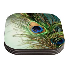 Peacock Feather by Sylvia Cook Coaster (Set of 4)