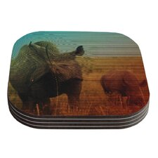 Abstract Rhino by Danny Ivan Coaster (Set of 4)