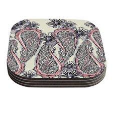 Inky Paisley Bloom by Sonal Nathwani Coaster (Set of 4)