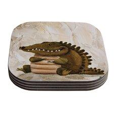 Smiley Crocodiley by Rachel Kokko Coaster (Set of 4)