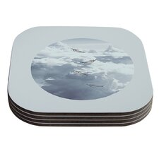 Feathers by Suzanne Carter White Gray Coaster (Set of 4)