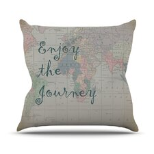 Journey by Catherine Holcombe World Map Throw Pillow