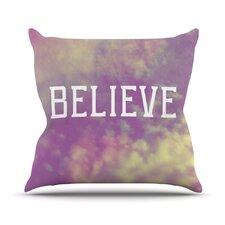 Believe by Rachel Burbee Clouds Throw Pillow
