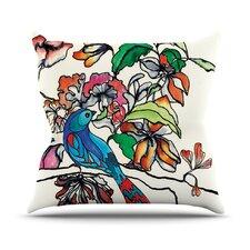 Magic Garden by Sonal Nathwani Rainbow Bird Throw Pillow