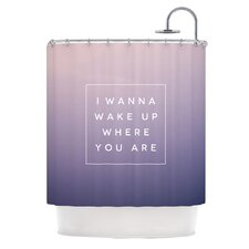 Wake Up Polyester Shower Curtain