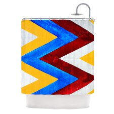 Zig Zag Polyester Shower Curtain