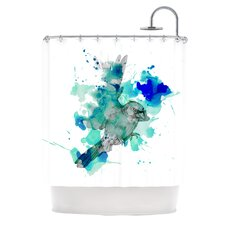 A Cardinal in Blue Polyester Shower Curtain