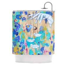Origami Strings Polyester Shower Curtain